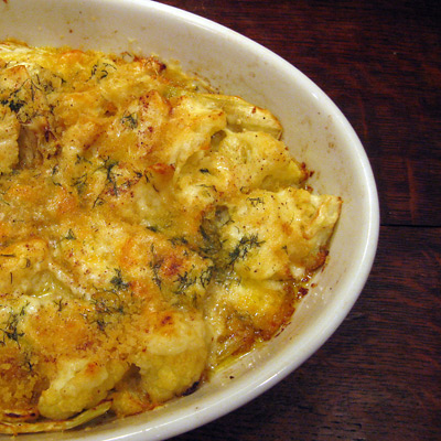 "Cauliflower and Fennel Gratin (say ""bechamel"" 10 time fast)"