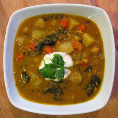 Curry Lentil, Chickpea and Spinach Soup