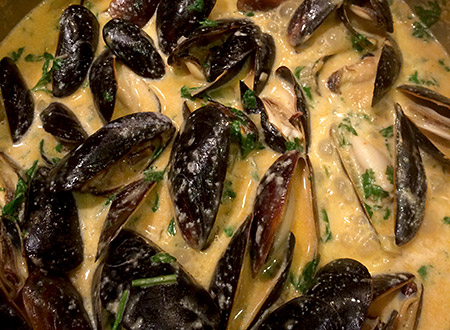 Mussels in Ginger Coconut Milk Broth